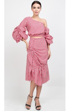Ruffle Ruched Midi Skirt - Red Gingham