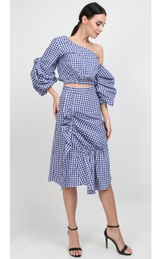Ruffle Ruched Midi Skirt - Blue Gingham
