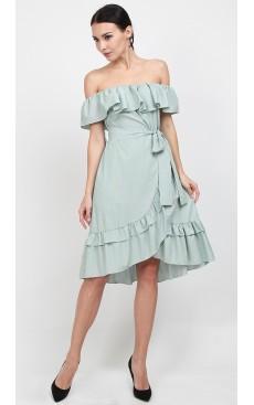 Off Shoulder Wrap Midi Dress - Green Stripe