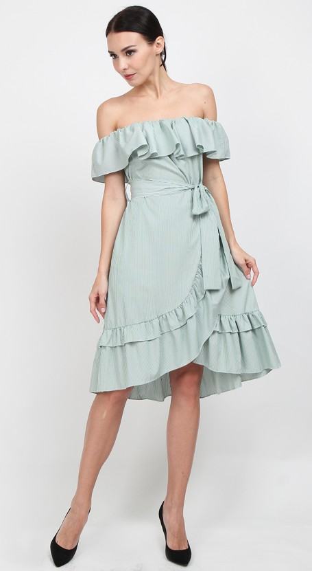 c125d62c6961 Off Shoulder Wrap Midi Dress - Green Stripe