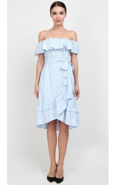 Off Shoulder Wrap Midi Dress - Light Blue Stripe
