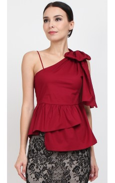 Bow Toga Peplum Top - Rio Red