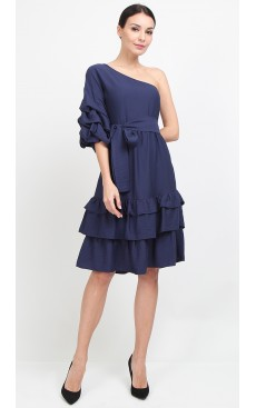 Toga Puff Sleeve Midi Dress - Navy