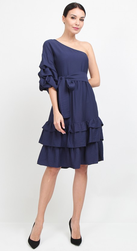Toga Puff Sleeve Midi Dress - Navy