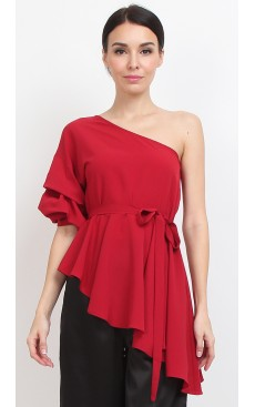 Toga Slanted Peplum Top - Scarlet Red