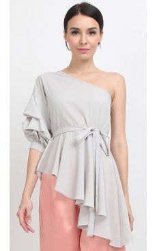 Toga Slanted Peplum Top - Stone White