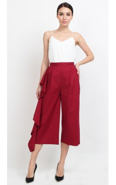Side Ruffle Culotte - Rio Red