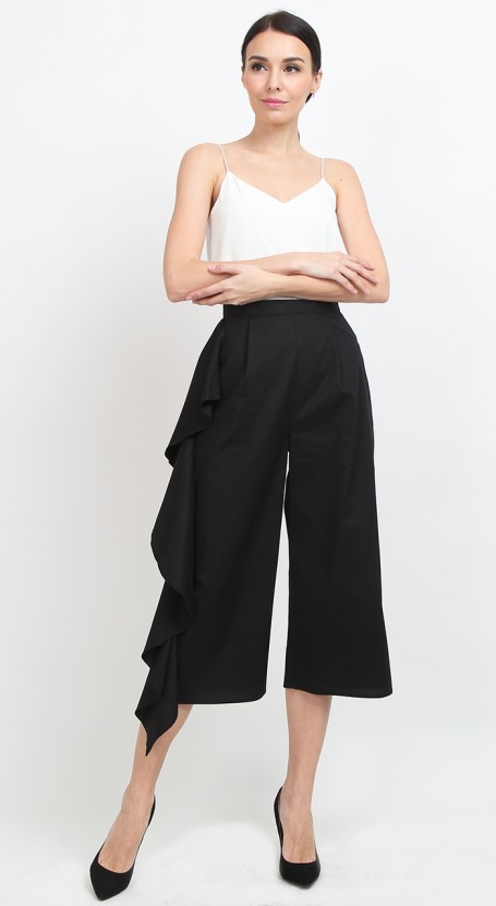Side Ruffle Culotte - Black