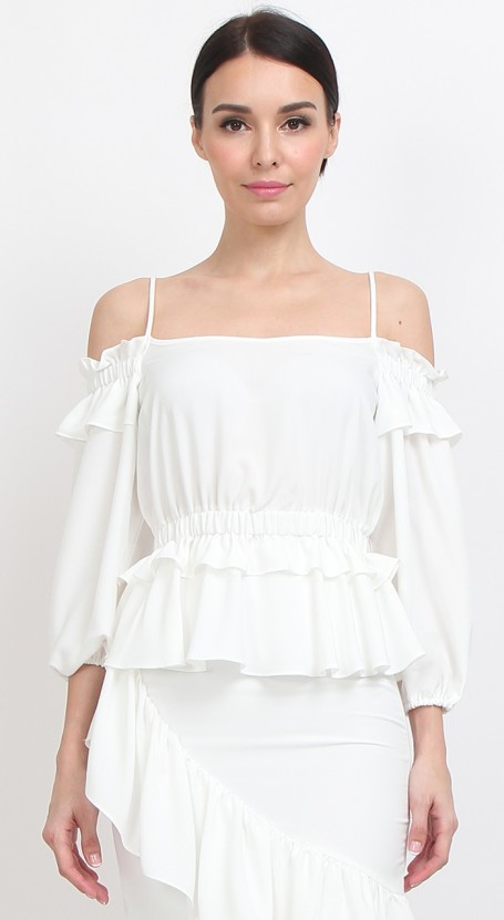 Peplum Balloon Sleeve Top - White