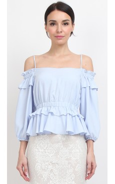 Peplum Balloon Sleeve Top - Angel Blue