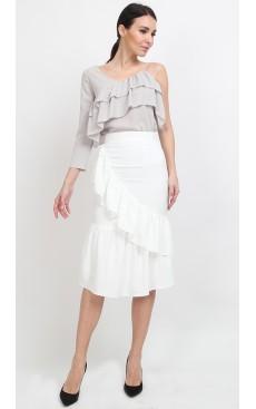 Ruffle Mermaid Midi Skirt - White