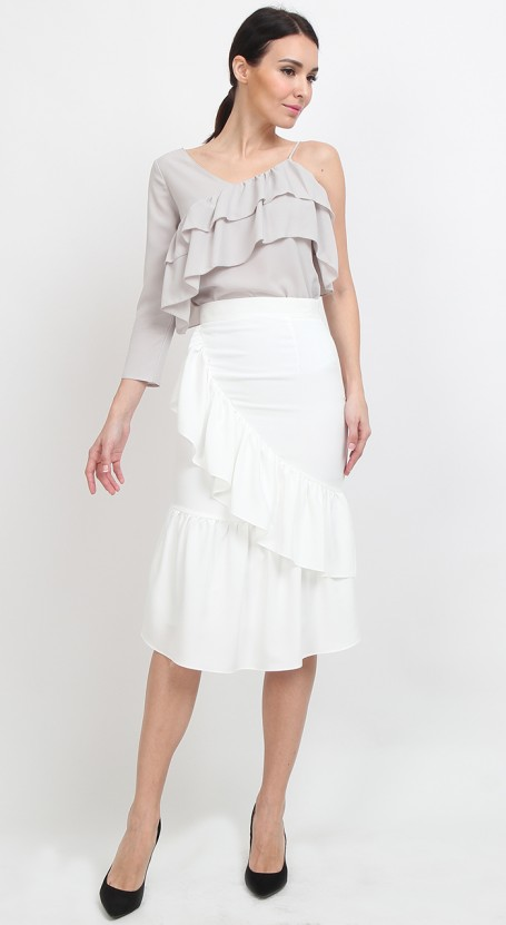 Ruffle Mermaid Midi Skirt - White