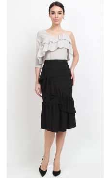 Ruffle Mermaid Midi Skirt - Black