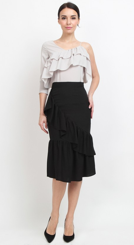 Ruffle Mermaid Midi Skirt - Black