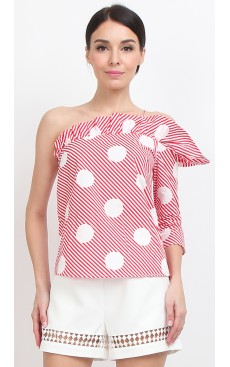 Toga Frill Top - Red Polka Stripe