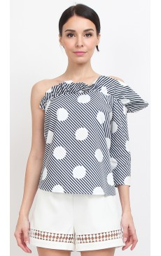 Toga Frill Top - Blue Polka Stripe