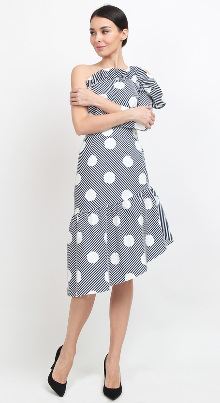 Slanted Midi Skirt - Blue Polka Stripe