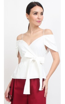 Wrap Peplum Top - White