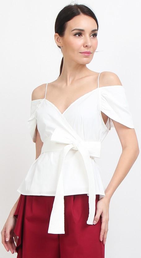 Wrap Peplum Top - White