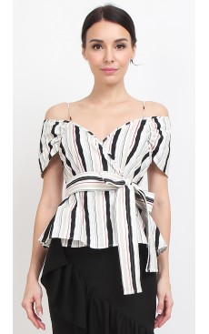 Wrap Peplum Top - Red Black Stripe