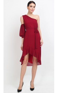 Toga Ruffle Midi Dress - Bordeaux