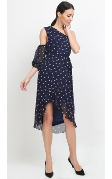 Toga Ruffle Midi Dress - Navy Polka