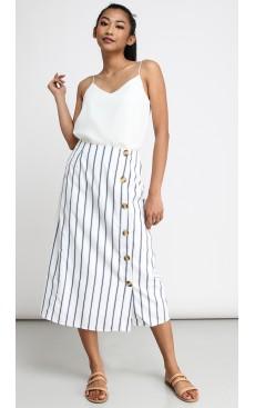 f4e02ec042694c Side Button Long Midi Skirt - White with Dark Blue Stripe