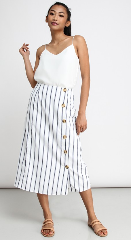 Side Button Long Midi Skirt - White with Dark Blue Stripe