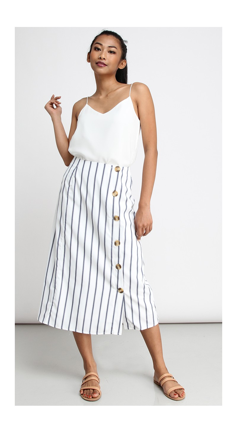 7104aff87d1e Side Button Long Midi Skirt - White with Dark Blue Stripe