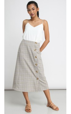 Side Button Long Midi Skirt - Light Brown & Yellow Plaid
