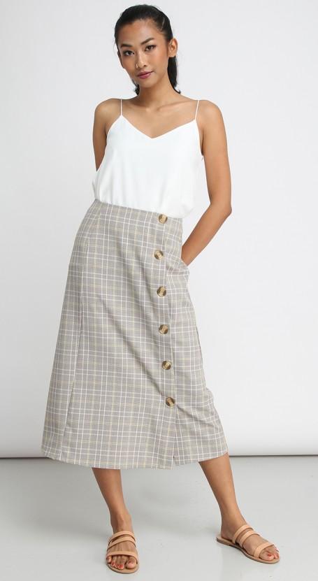 Side Button Long Midi Skirt - Light Brown & Yellow Plaid