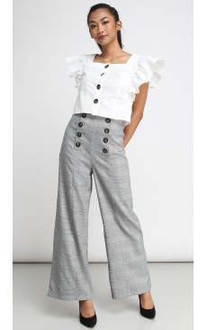 High Waist Button Flare Pants - Black Plaid