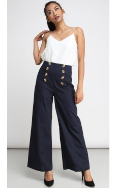 High Waist Button Flare Pants - Dark Blue
