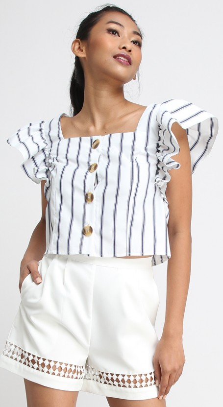 Butterfly Sleeve Crop Top - White with Dark Blue Stripe