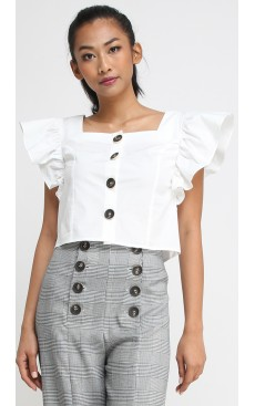 Butterfly Sleeve Crop Top - White