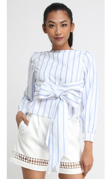 Multi-way V-back Top - White with Light Blue Stripe