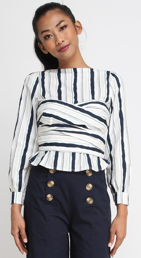Multi-way V-back Top - Green Navy Stripe