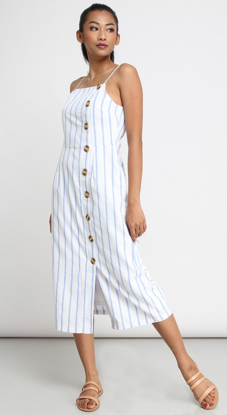 Side Button Midi Dress - White with Light Blue Stripe