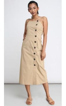 Side Button Midi Dress - Safari Brown