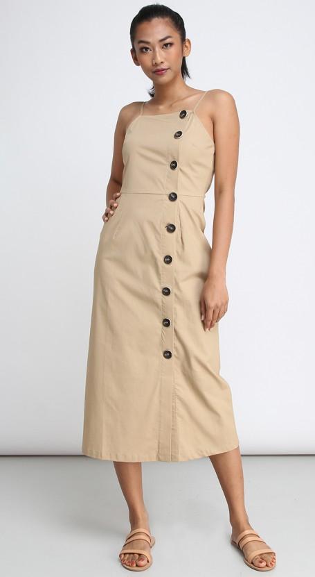 Side Button Midi Dress - Safari Brown