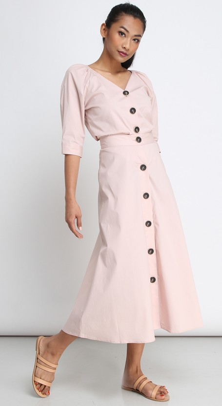 Button Down Long Midi Skirt - Cameo Rose