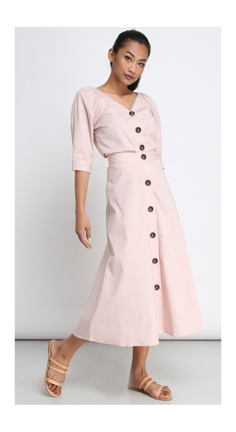 9457f4c54abc8e Button Down Long Midi Skirt - Cameo Rose