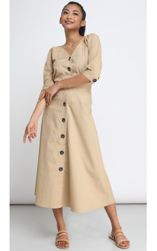 Button Down Long Midi Skirt - Safari Brown