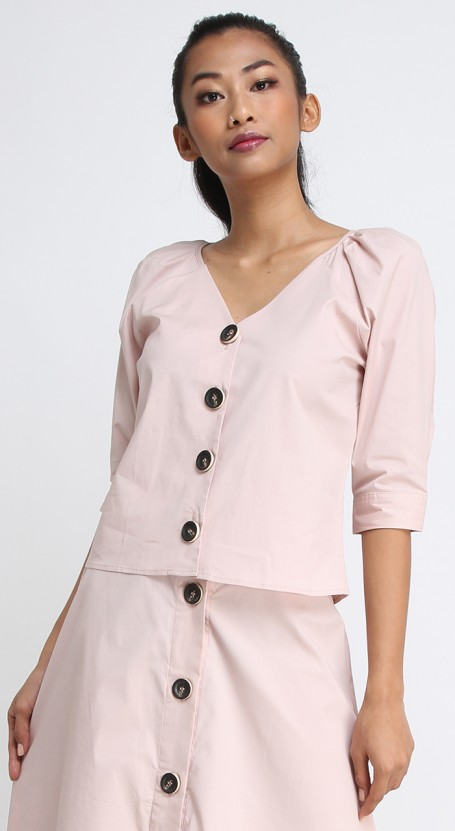 Puff Shoulder Button Down Top - Cameo Rose