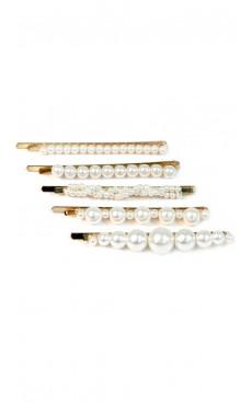 5-piece Pearl Hair Pin Set - White/Gold