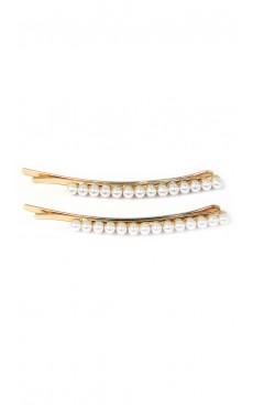 2-piece Long Hair Pin Set - White/Gold