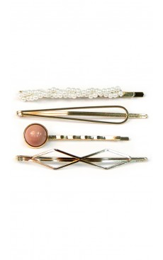 4-piece Candy Pearl Hair Pin Set - White/Pink/Gold