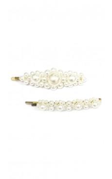 2-piece Flower Pearl Hair Pin Set - White/Gold