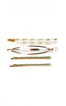 4-piece Pearl & Wave Bobby Pin Set - White/Gold