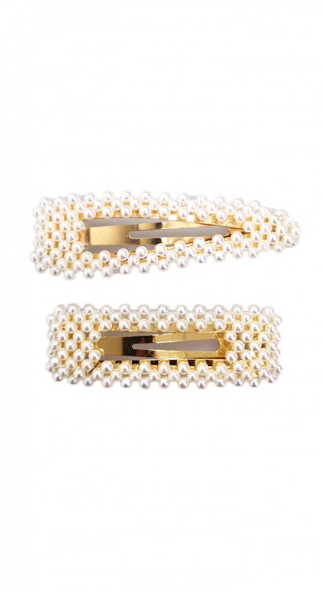 2-piece Pearl Snap Hair Clip Set - White/Gold